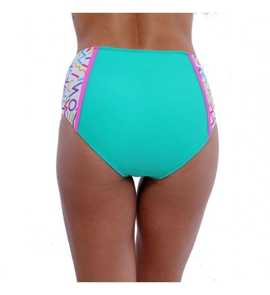 Sweet Mellow. Bas de maillot de bain taille haute. Couleurs pétillantes, blanc et vert turquoise