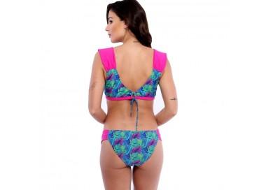 Sweet Mellow. Back. Maillot de bain deux pièces, imprimé tropical. Bleu, violet  et rosa pop.