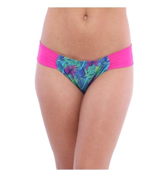 Sweet Mellow. Bas de maillot de bain deux pièces, imprimé tropical. Bleu, violet  et rosa pop.