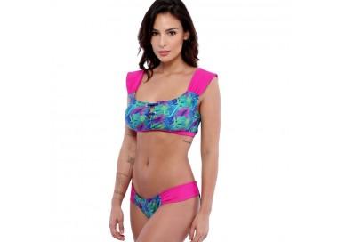 Sweet Mellow. Maillot de bain deux pièces, imprimé tropical. Bleu, violet  et rosa pop.
