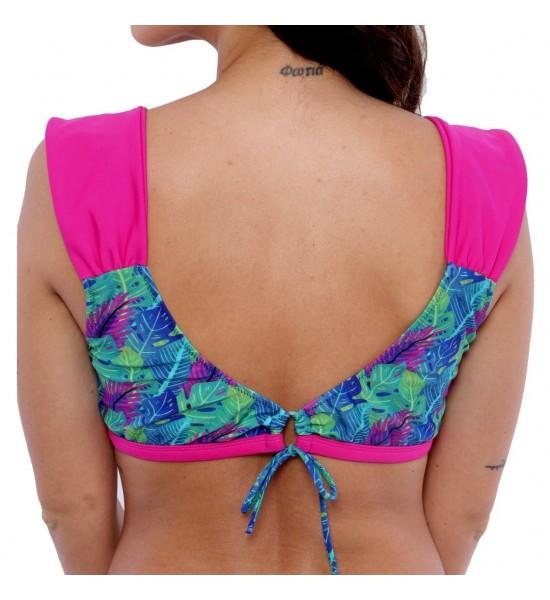 Sweet Mellow. Haut de Maillot de bain deux pièces Yaqué, imprimé tropical. Bleu, violet  et rosa pop.