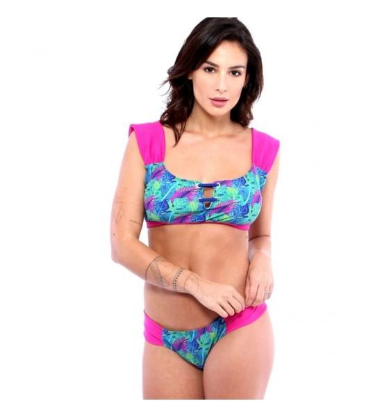 Sweet Mellow. Maillot de bain deux pièces Yaqué, imprimé tropical. Bleu, violet  et rosa pop.